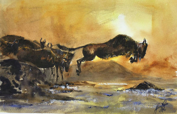 Migration Painting - The Crossing by James Nyika