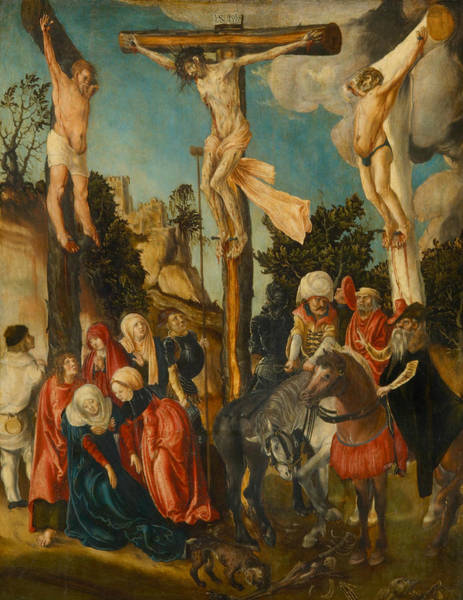 Cranach Painting - The Crucifixion by Lucas Cranach the Elder