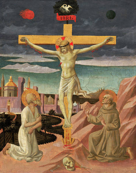 Painting - The Crucifixion With Saint Jerome And Saint Francis by Pesellino