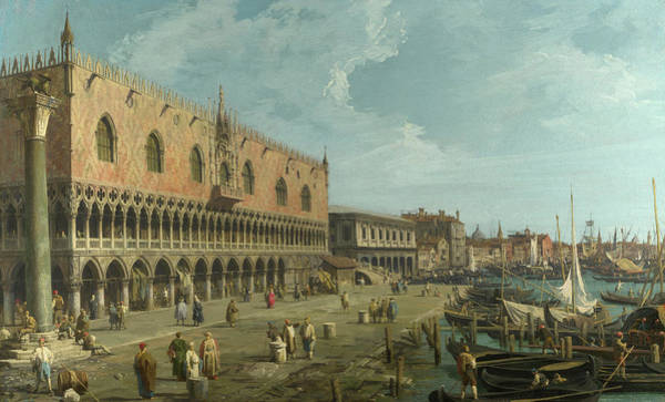 Moor Painting - The Doge's Palace And The Riva Degli Schiavoni by Canaletto