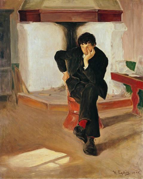 Painting - The Dreamer. Portrait Of The Painter Torleiv Stadskleiv by Halfdan Egedius