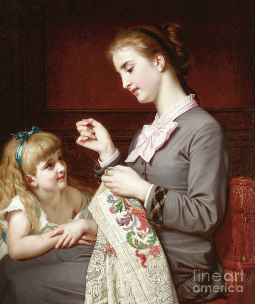 Embroidery Painting - The Embroidery Lesson by Hugues Merle