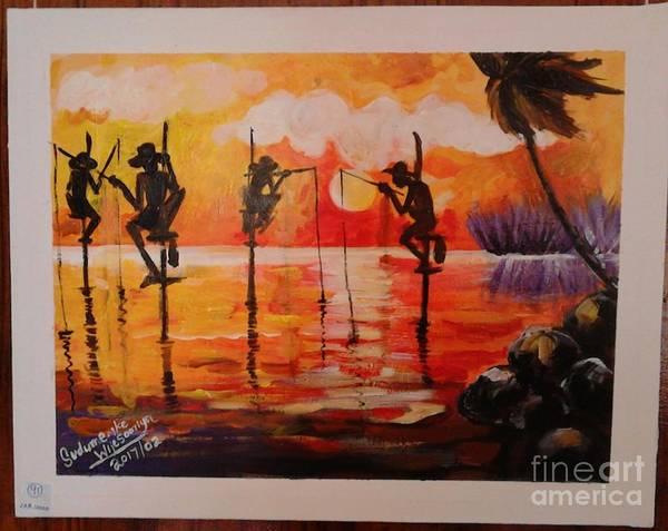 Wall Art - Painting - The Expectation by Sudumenike Wijesooriya
