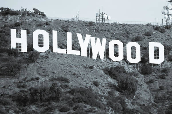 Photograph - The Famous Hollywood Sign In Hollywood California In Black And White by Gregory Ballos