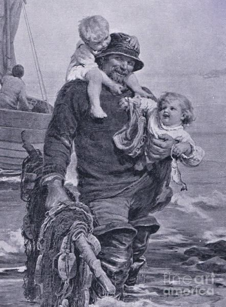 Nostalgia Drawing - The Ferry by Frederick Morgan