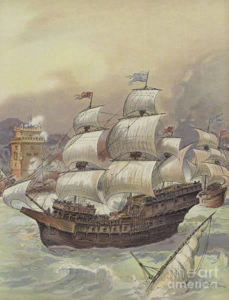 Wall Art - Painting - The Fleet Of Jean Ango Blocks The Tagus by Albert Robida