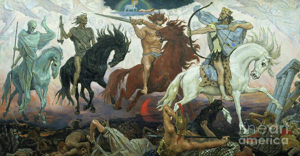 God Of War Wall Art - Painting - The Four Horsemen Of The Apocalypse by Victor Mikhailovich Vasnetsov