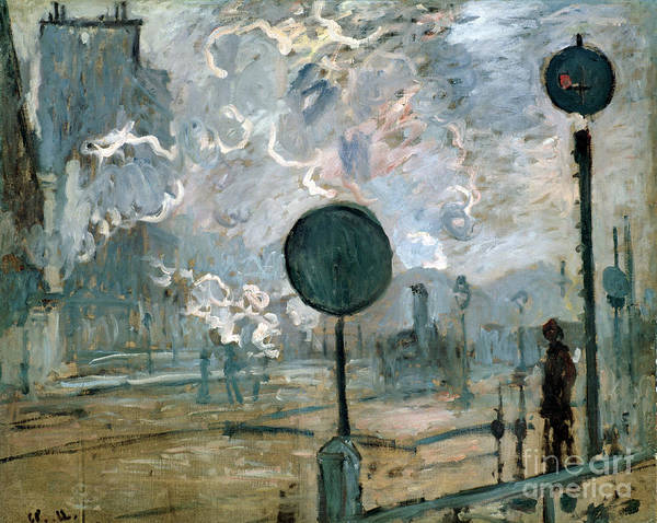 Trains Painting - The Gare Saint-lazare by Claude Monet
