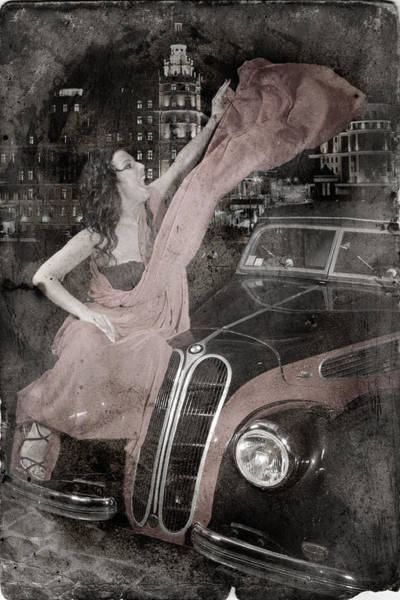 Photograph - The Girl On The Background Of Vintage Car. by Andrey  Godyaykin