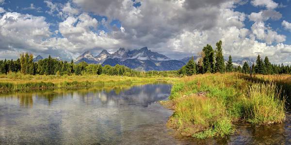 Digital Art - The Grand Tetons National Park Reflections Olena Art Fall Colors Photography by OLena Art Brand