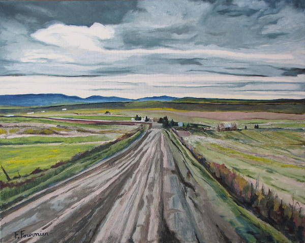 Wall Art - Painting - The Gravel Road Lapatrie Quebec Canada by Francois Fournier