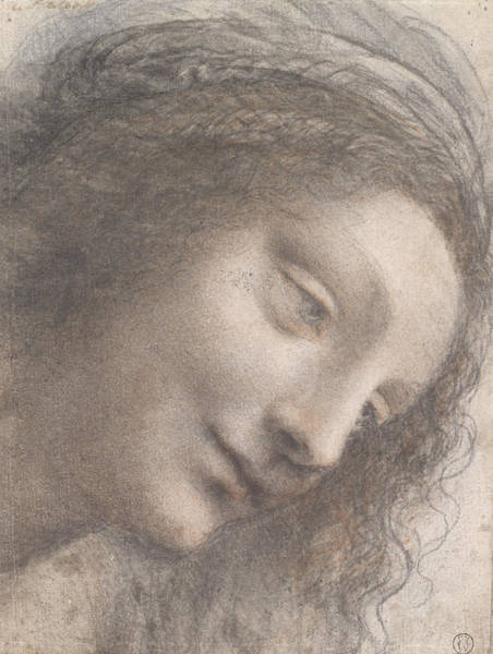 Drawing - The Head Of The Virgin In Three-quarter View Facing Right by Leonardo da Vinci