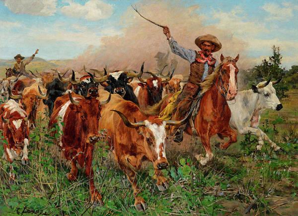 Longhorn Painting - The Herders by Richard Lorenz