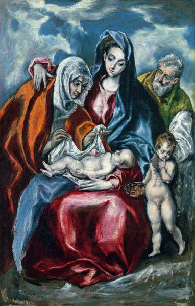 Painting - The Holy Family With Saint Anne And The Infant John The Baptist by El Greco