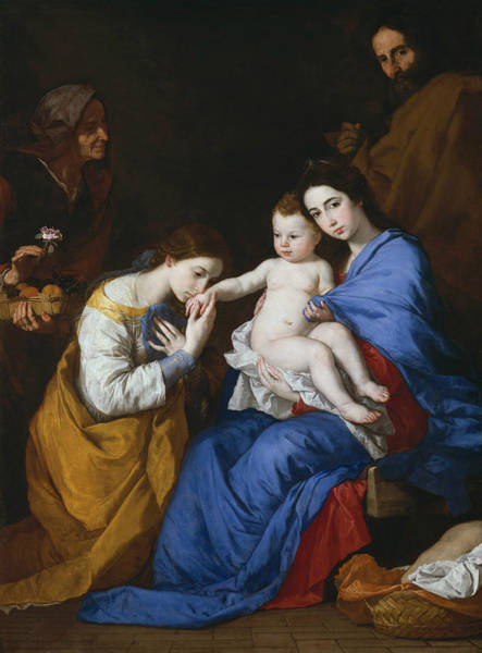Saint Anne Painting - The Holy Family With Saints Anne And Catherine Of Alexandria by Jusepe de Ribera