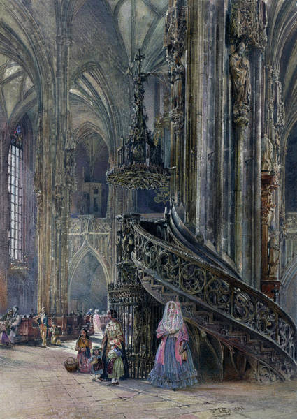 Painting - The Interior Of The Cathedral Of Saint Stephen At Vienna by Rudolf von Alt