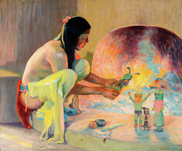 Wall Art - Painting - The Kachina Maker by Eanger Irving Couse