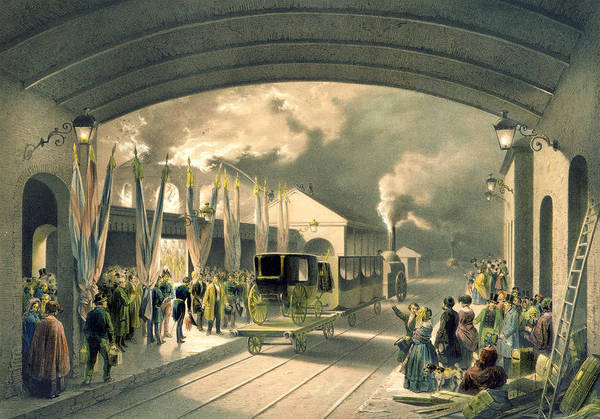Platform Painting - The King At New Cross Station  by Edouard Pingret