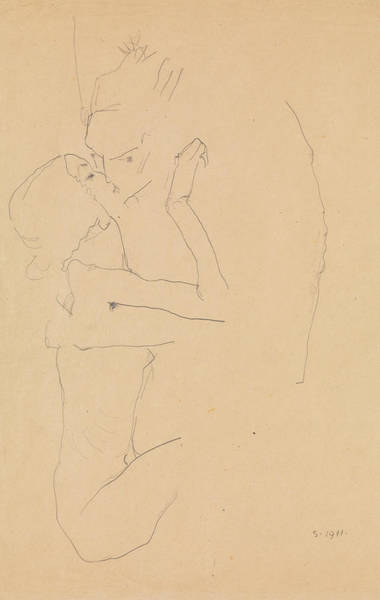 Austrian Drawing - The Kiss by Egon Schiele