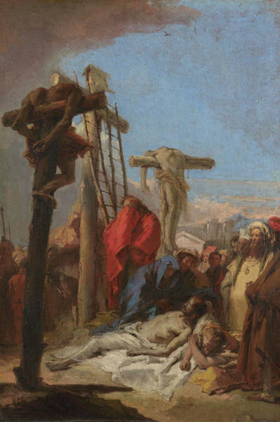 Groups Of People Painting - The Lamentation At The Foot Of The Cross by Giovanni Domenico Tiepolo