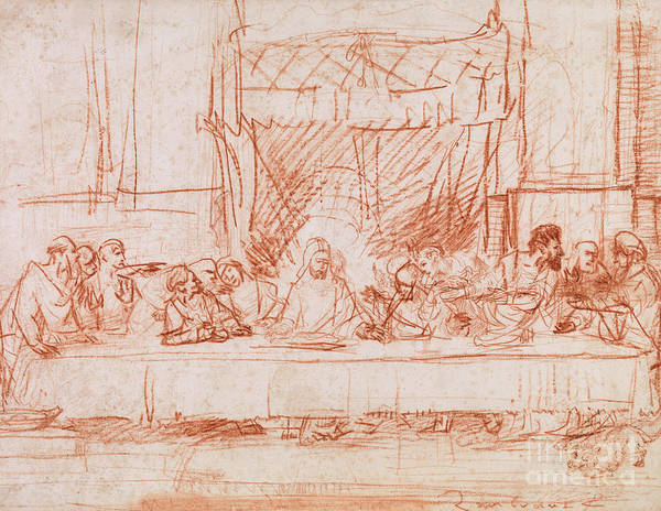 Etching Drawing - The Last Supper, After Leonardo Da Vinci by Rembrandt
