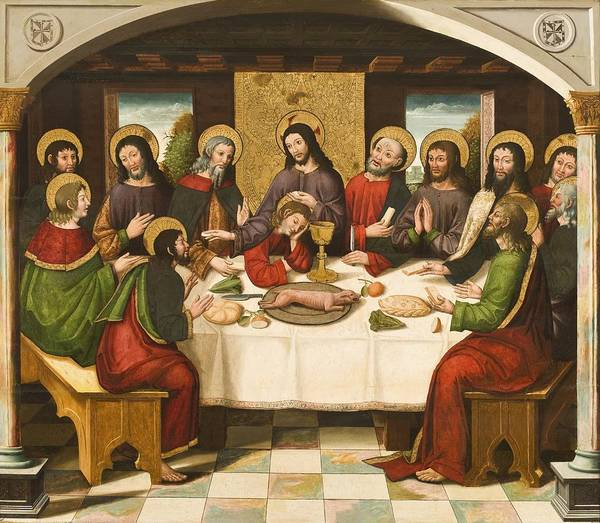 Sacrament Wall Art - Painting - The Last Supper by Master of Portillo