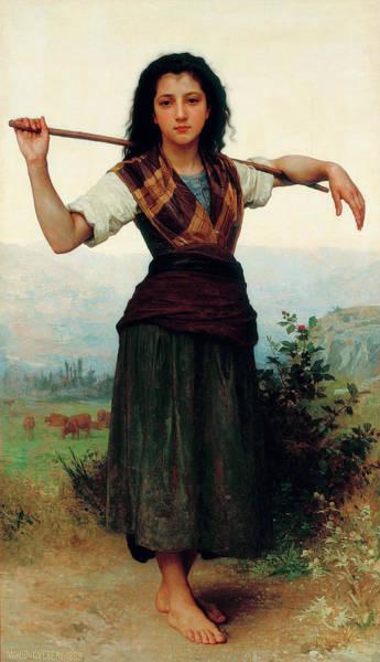 Amaryllis Painting - The Little Shepherdess by Adolphe William Bouguereau