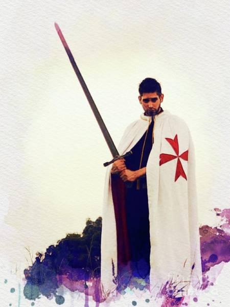 Wall Art - Painting - The Lone Crusader - Knights Templar by John Springfield
