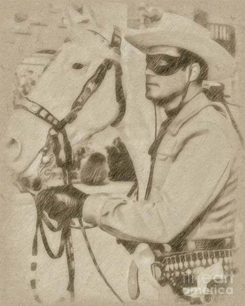 Rock Music Drawing - The Lone Ranger by John Springfield