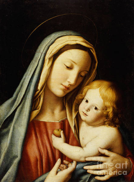 Immaculate Conception Wall Art - Painting - The Madonna And Child by Il Sassoferrato