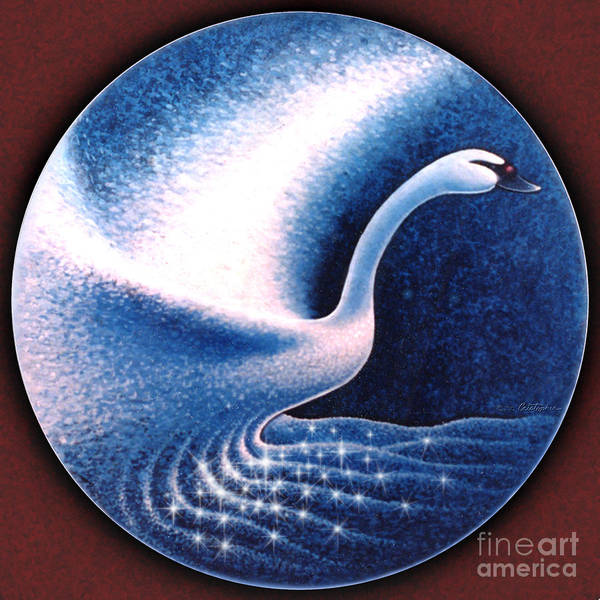 Slate Painting - The Magic Swan by Cristophers Dream Artistry