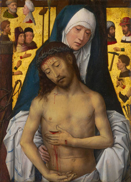 Redeemer Wall Art - Painting - The Man Of Sorrows In The Arms Of The Virgin by Hans Memling