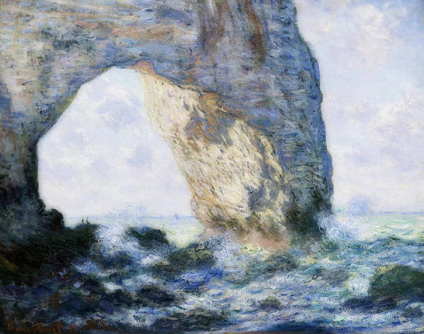 Outcrop Painting - The Manneporte - Etretat by Claude Monet