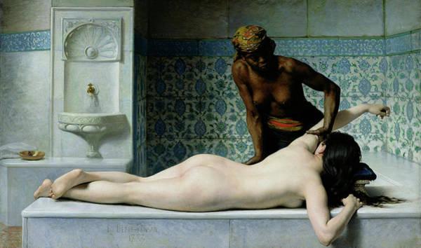 Sauna Wall Art - Painting - The Massage by Edouard Debat Ponsan