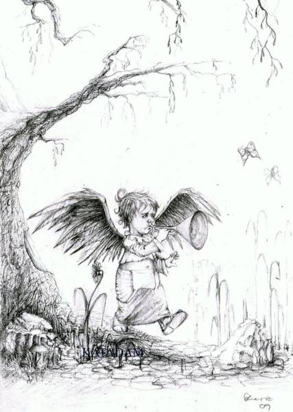 Pencil Drawing - the Messenger by Kata Adam