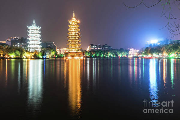 Photograph - The Moon And Sun Pagodas In Guilin In China by Didier Marti