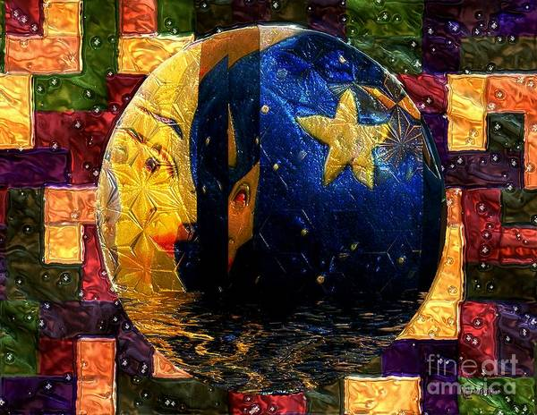 Painting - The Moon Has A Bath by RC DeWinter