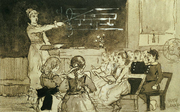 Choral Wall Art - Drawing - The Music Lesson by Winslow Homer