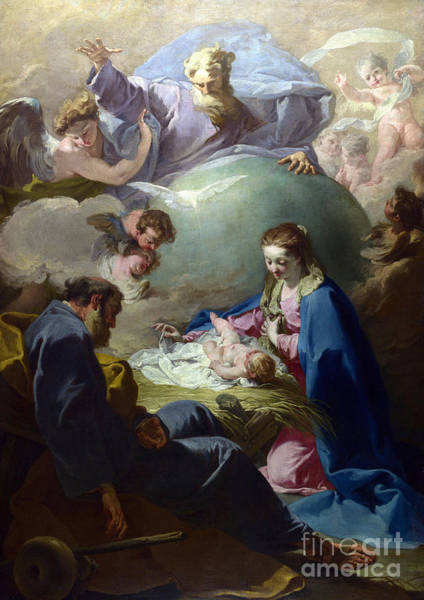 Wall Art - Painting - The Nativity With God The Father And The Holy Ghost by Giovanni Battista Pittoni