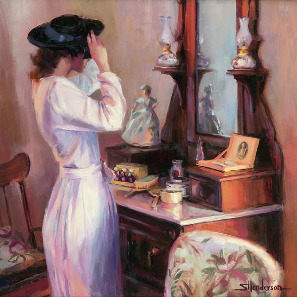 Shopping Painting - The New Hat by Steve Henderson