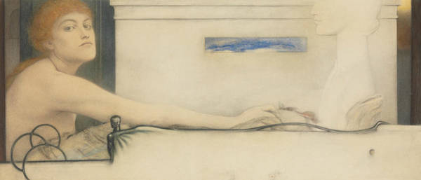 Drawing - The Offering by Fernand Khnopff