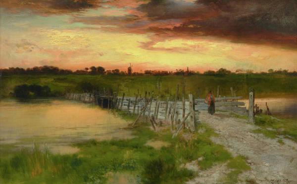 Moran Painting - The Old Bridge Over Hook Pond, East Hampton, Long Island by Thomas Moran