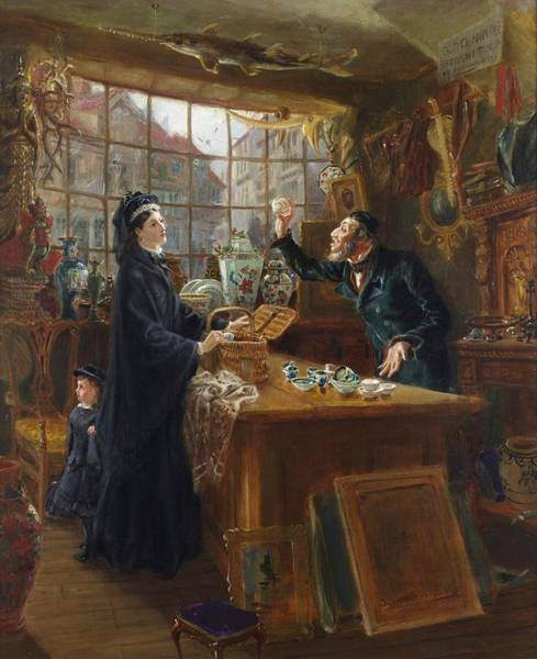 Fashion Plate Painting - The Old China Shop by Ralph Hedley