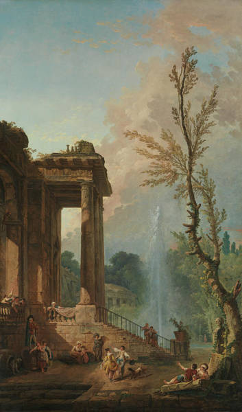 Portico Painting - The Portico Of A Country Mansion by Hubert Robert