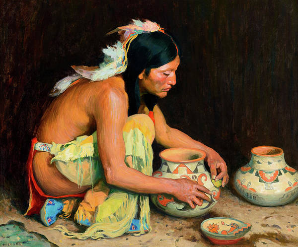 Turkey Feather Wall Art - Painting - The Pottery Maker by Eanger Irving Couse