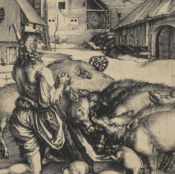 Herd Drawing - The Prodigal Son by Albrecht Durer or Duerer
