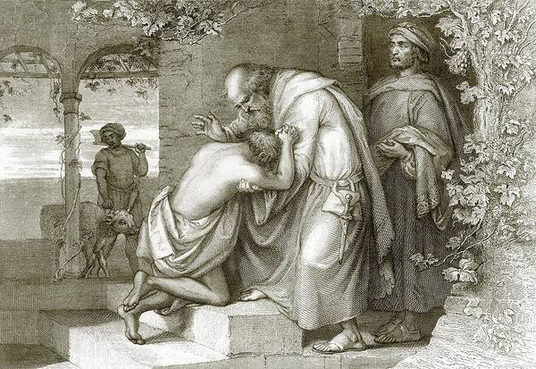 Tender Moment Wall Art - Drawing - The Prodigal's Return by English School