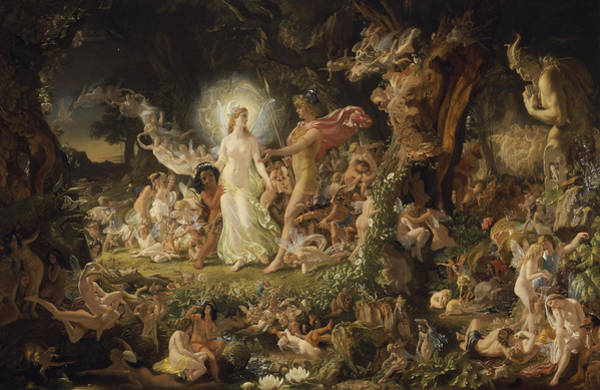 Pixie Painting - The Quarrel Of Oberon And Titania by Sir Joseph Noel Paton