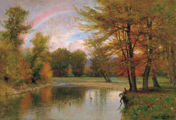 Wall Art - Painting - The Rainbow, Autumn, Catskill by Worthington Whittredge
