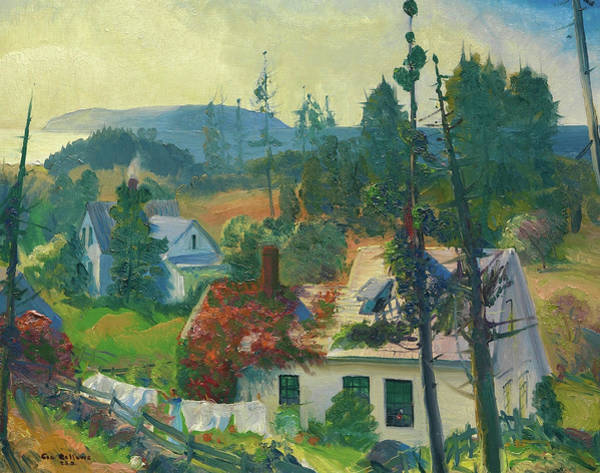 Clothesline Painting - The Red Vine, Matinicus Island, Maine by George Bellows